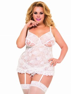 Gorset + stringi LISA - WHITE- PLUS SIZE