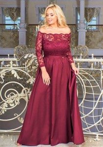 SUKIENKA MAXI plus size SAMANTA  (r.44-50) bordo