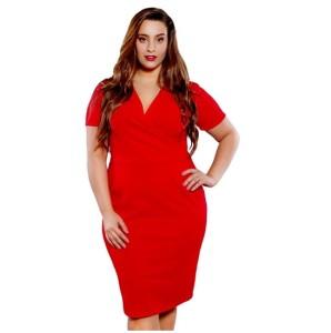 Ołówkowa sukienka z zakładanym dekoltem (r. 44-68) kolory PLUS SIZE BYLOLA 7ef0874351c