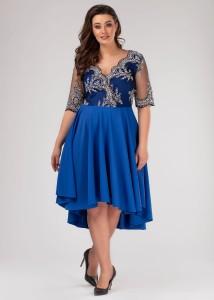 e24d345573 Wieczorowa sukienka Plus Size r. 46 z koła zdobiona koronką WYSYŁKA 24H
