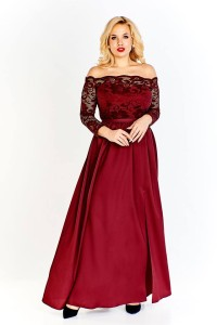 SUKIENKA MAXI plus size SAMANTA  (r.44-48) bordo