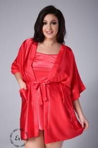 2f5e135aeffe32 KOMPLET Satynowy szlafrok plus size + koszulka plus size- czerwony (r.44-