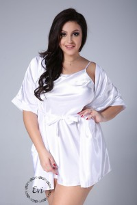 11d5a77189179d KOMPLET Satynowy szlafrok plus size + koszulka plus size- biały (r.44-