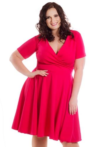 630e69b512 Sukienka plus size z zakładkowym dekoltem