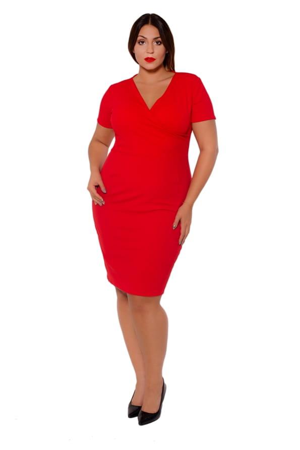 76ae1c9b7d Ołówkowa sukienka z zakładanym dekoltem (r. 44-56) kolory PLUS SIZE ...